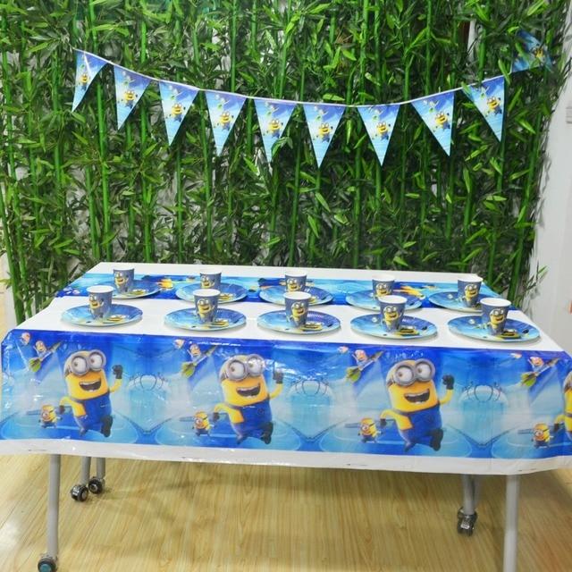 22 Stucke Minions Birthday Party Supplies Platte Tasse Fahnen Tischdecke Minion Dekoration