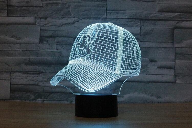N506 3D Кливленд Бейсбол модель Стиль светодиодные лампы 7 цветов Изменение атмосфера Спальня лампа Таблица декора дома