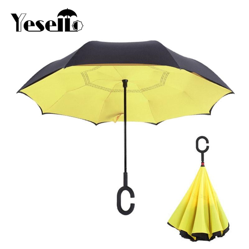 Yellow Umbrella Stand: Yesello Yellow Folding Double Layer Inverted Umbrella Self
