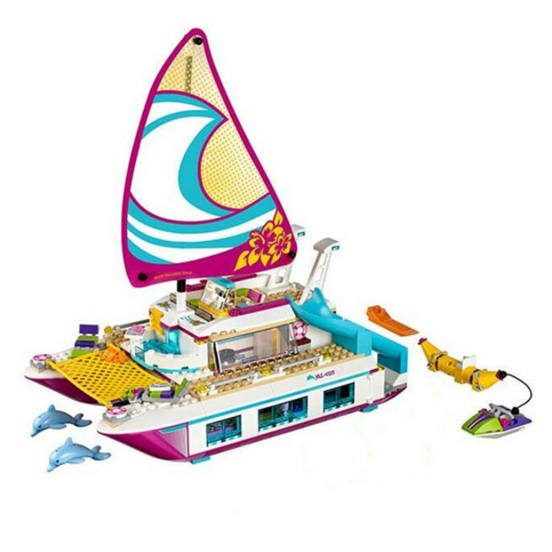 01038 Friends Sunshine Catamaran Dolphins Olivia Stephanie Girl Building Block Compatible with Legoe 41317 Brick Toy figures houses girl friends stephanie mia olivia andrea emma andrea blocks learning toy gift compatible with with friends gift