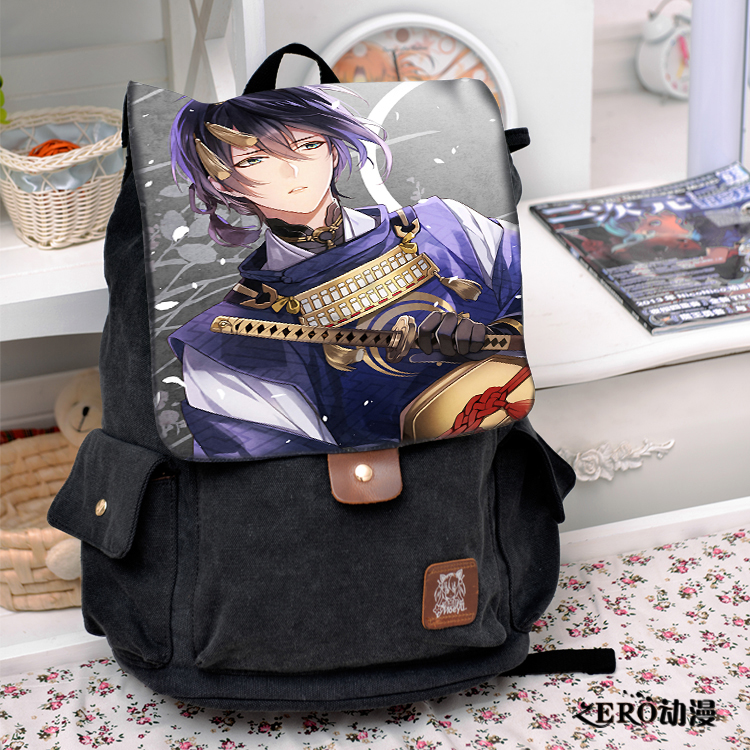 Cool Black Canvas Bag Touken Ranbu Online Cosplay Backpack Fashion casual large capacity Bags For Men Women School Bags стоимость