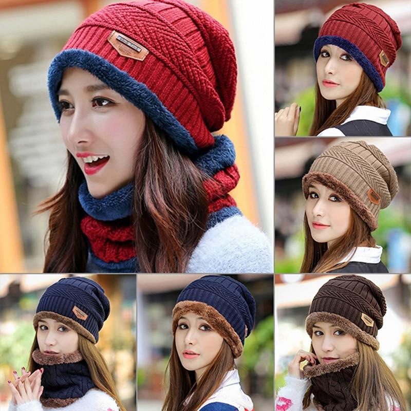 Winter Warm Knit Ski Cap Scarf Set Men Women Fashion Baggy Beanie Hat Neckerchief Unisex Beanie Hat