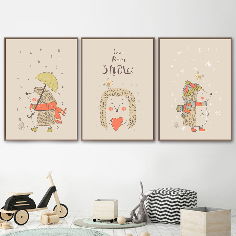 Cartoon Hedgehog Bird Rain Snow Nordic Posters And Prints Wall Art Canvas Painting Animals Pictures For Kids Room Decor