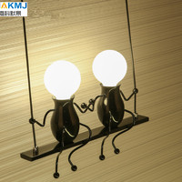 American country Creative Iron Led Wall Lamp,Retro Bedroom bedside aisle Cartoon Robot Wall Light for Children room Luminaire