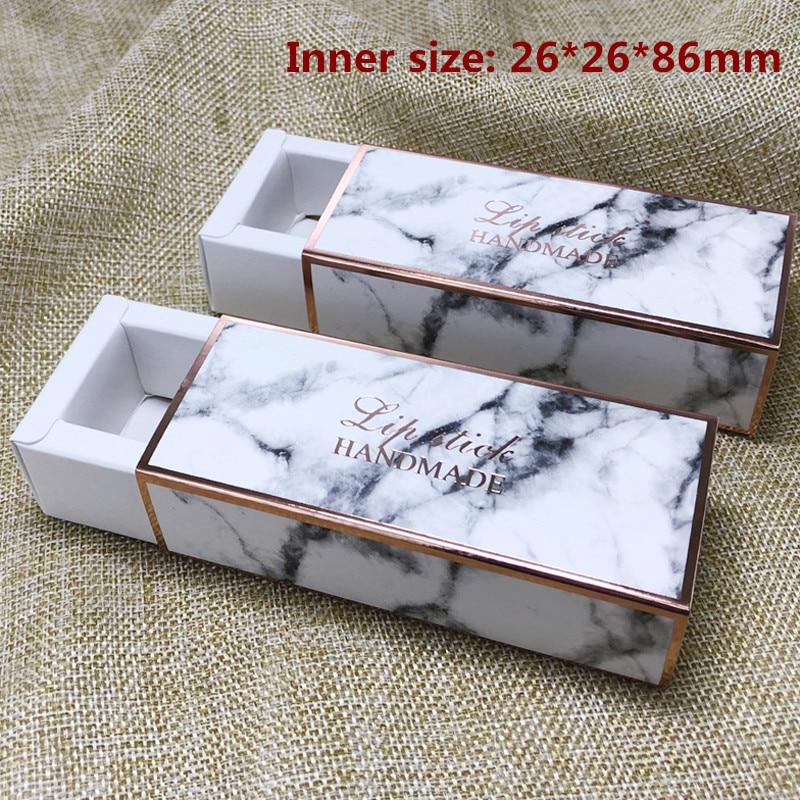 50pcs 2 6 2 6 8 6cm Drawer Type Marbling Lipstick Packing Paper Box Lip Tube