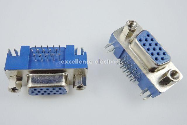 10 Pcs <font><b>D</b></font>-<font><b>SUB</b></font> Right Angle 15 Pin Female VGA PCB Connector 3 Rows Type 5 08 image
