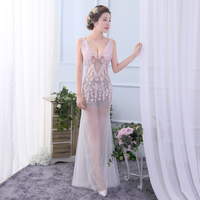 Floor Length Full Manual Flower Lace Sexy Star Prom Dress Evening Dress Cocktail Dress Night Entertainment