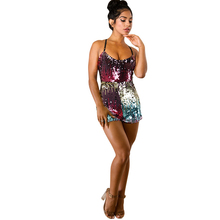 summer new sexy women's sequins jumpsuit slim sling color be