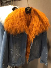 Real Rabbit Fur Lined Women Holes Denim jacket With Large Mongolia Sheep Fur Collar Thick Parkas Winter Outerwear