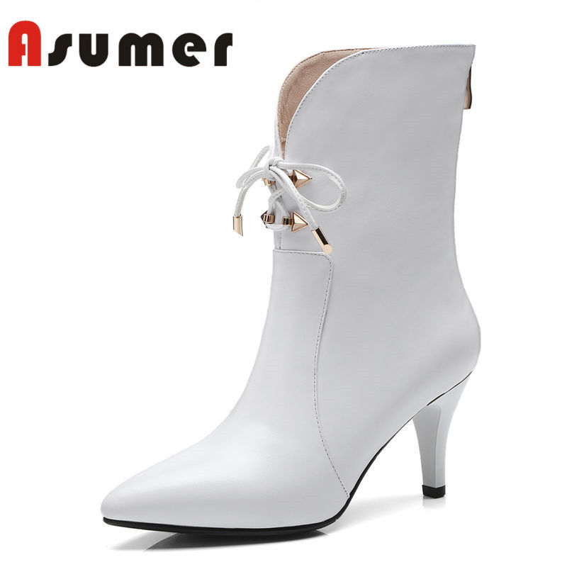 ASUMER 2018 NEW fashion cross tied ankle boots for women solid simple high heels boots pointed toe winter genuien leather boots asumer 2018 new arrive genuine leather boots pointed toe thin heels ankle boots for women fashion solid winter high heels boots