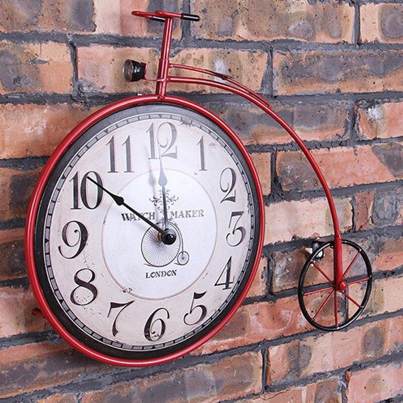 Колеса велосипеда настенные часы промышленности в старинном творческий, кованого железа часы, метоп украшением железный прут colock