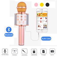 WS858 Professional Fashion Bluetooth Wireless Microphone Magic Karaoke Condenser USB Wired Mobile Phone Player Record Mic