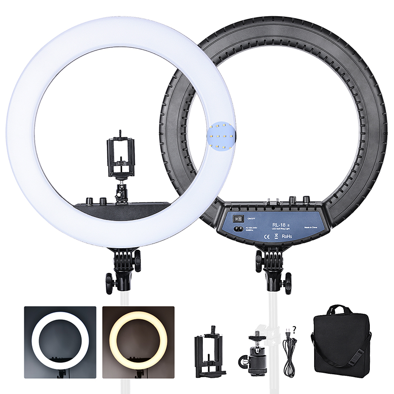 FOSOTO RL 18II Bi color 3200 5600K Dimmable Photography light 512 Leds Makeup Ring Light Lamp