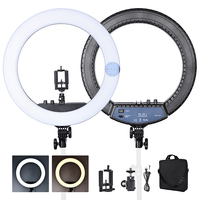 FOSOTO RL 18II Bi color 3200 5600K Dimmable Photography light 512 Leds Makeup Ring Light Lamp For Camera Photo Studio Phone
