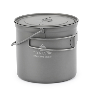 TOAKS 1100ml Titanium Pot Ultralight Titanium Cup Bowl Outdoor Camping Cookware Haing Pot Folding Handle TOAKS 1100ml Titanium P