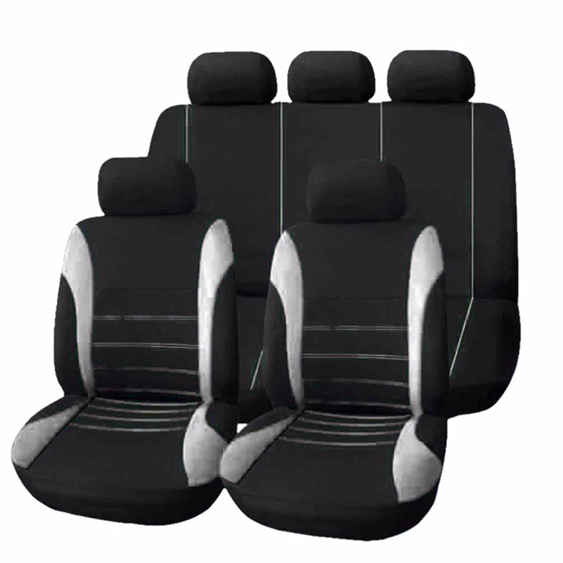 9 Pcs Set Car Seat Covers Black Plus Grey Polyester Wear-resisting Fit Most Car-styling