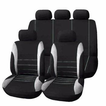 9 sztuk zestaw siedzenia samochodu obejmuje czarny Plus szary poliester odpornymi na zużycie pasują do większości samochodów stylizacji tanie i dobre opinie car seat cover set FY-UU 1 set = 2 front seat + 1 rear back + 1 rear seat + 5 headrest Cztery pory roku Z włókien syntetycznych