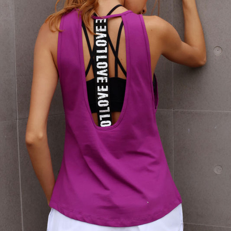 Yoga Women Gym Sports Sleeveless Shirts Tank Tops Fitness Running Clothes Loose Quick Dry Tops Vest Singlets Summer Sexy Black