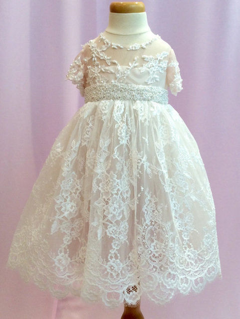 New Lolita Style Baptism Gown Christening Dress White/Ivory Infant Gown Lace Applique Beading With Belt