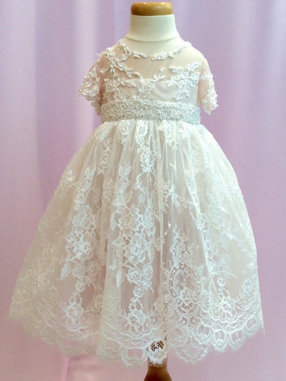 New Lolita Style Christening Dress Infant Baptism Gown Lace Applique White Ivory With BeltNew Lolita Style Christening Dress Infant Baptism Gown Lace Applique White Ivory With Belt