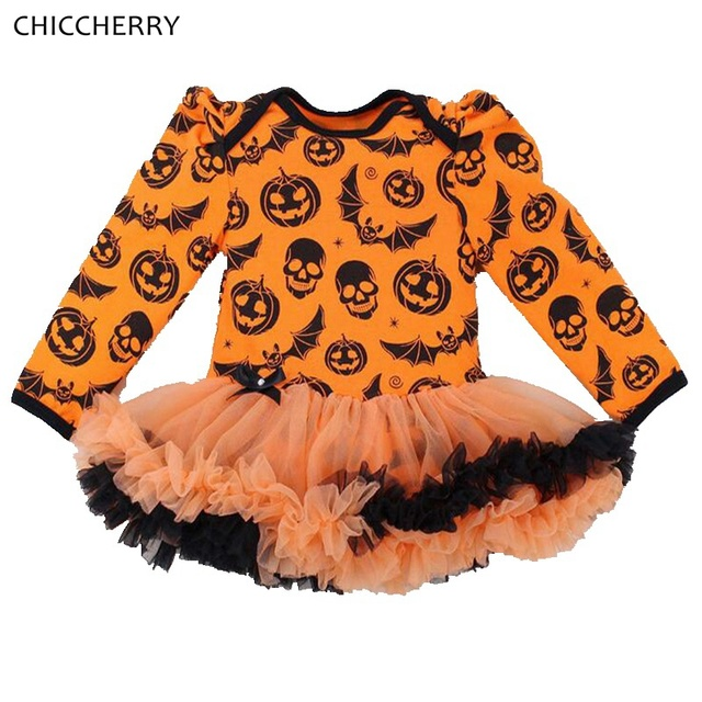 Skull Bat Pumpkin Long Sleeve Halloween Costume For Baby Girl Dress Lace Romper Tutu Bebe Party Dresses Vestido Infantil Menina