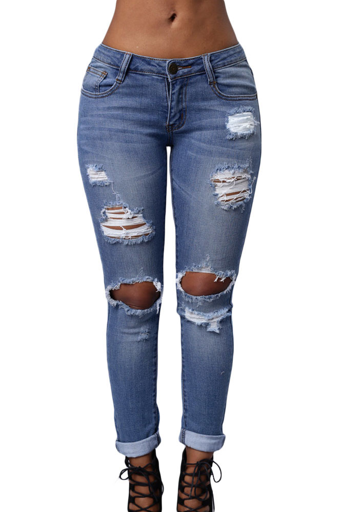 Online Buy Wholesale destroyed knee skinny jeans from China ...