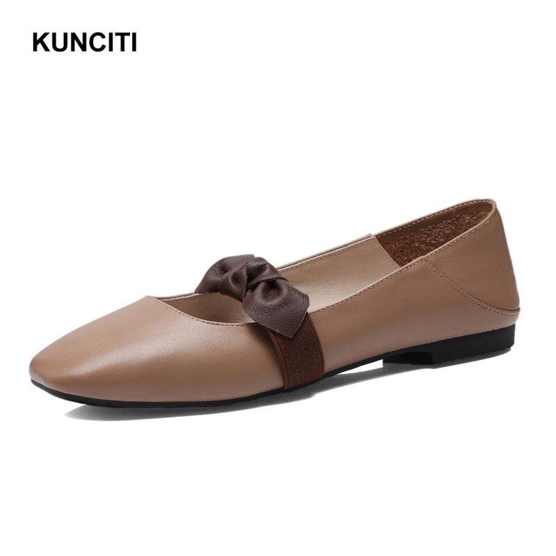 Zapatos Alta Cuadrado gray brown Cuero Moda Kunciti Mocasines Mariposa Beige nudo Del Dedo 2018 Pisos Calidad Genuino F104 Pie xOtHnUxP