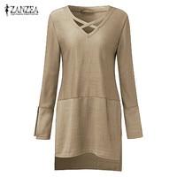 ZANZEA Fashion 2017 Autumn Women Knitted Shirts Long Sleeve V Neck Tops Casual Loose Long Style
