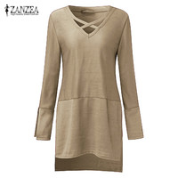 ZANZEA Fashion 2018 Autumn Women Knitted Shirts Long Sleeve V Neck Tops Casual Loose Long Style