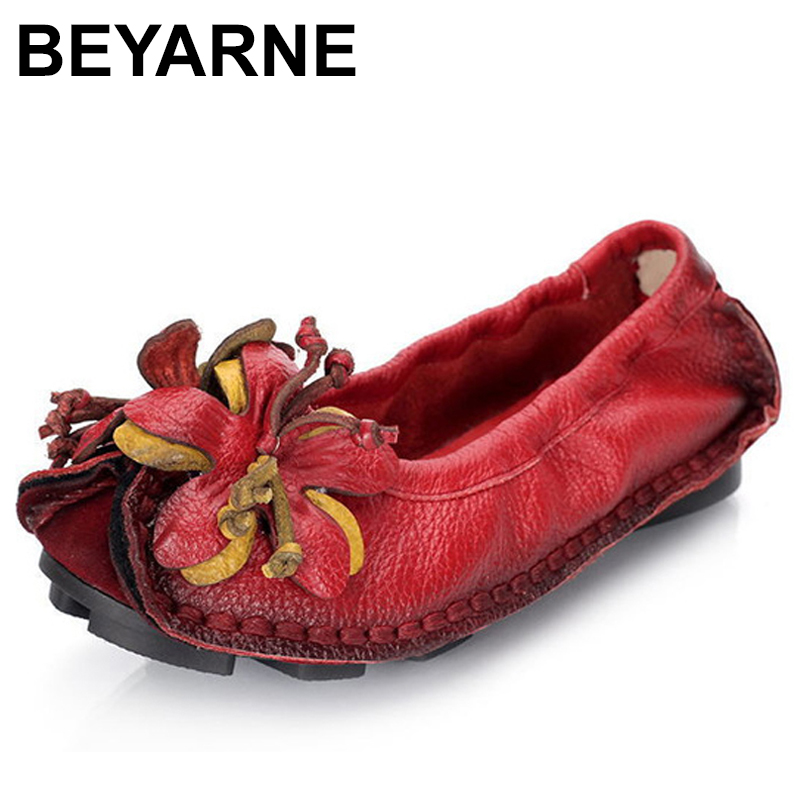 BEYARNE Spring And Autumn Fashion Loafers Women Personality Handmade Shoes Woman Genuine Leather Soft Casual FlatShoes WomenE248