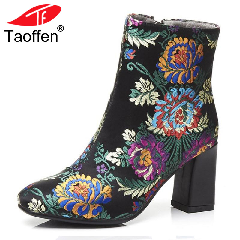 TAOFFEN Fashion Brand Winter Shoes Women Real Leather Thick High Heel Winter Boots For Women Embroidery Warm Botas Size 34-39 coolcept winter shoes women real leather thick platform wedges winter boots for women zip high heel warm plush botas size 34 39