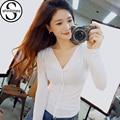 Vetement Femme Mulheres Tshirts do Algodão Roupas 2017 Turn-Down Collar T-Shirt Longo Da Luva Casual Camiseta Feminina Das Mulheres Coreanas topos