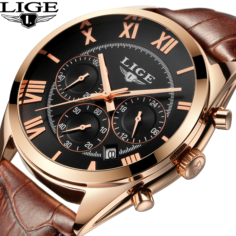 2017 LIGE Brand Mens Dress Quartz Watch Men Waterproof Fashion Casual Sports Watches Man Leather Wristwatches Relogio Masculino 2017 new top fashion time limited relogio masculino mans watches sale sport watch blacl waterproof case quartz man wristwatches