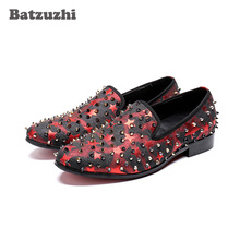 Batzuzhi 2018 Men Shoes luxury Brand Leather Oxfords Shoes Rivets Spikes Men Loafers Moccasins Italian Shoes for Men Flats, 6-12 qffaz men shoes luxury brand genuine leather casual driving oxfords shoes men loafers moccasins italian shoes for men flats