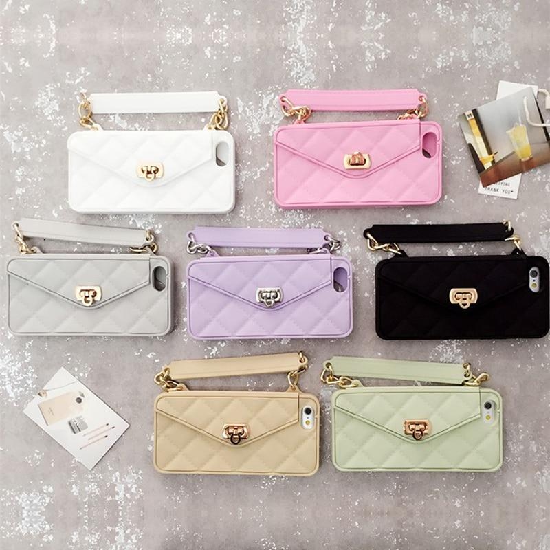 bilder für Luxus Fashion Weichen Silikon Karte Tasche Metallschließe Frauen Handtasche Telefon-kastenabdeckung Mit Kette Für Iphone 7 6 6 S Plus