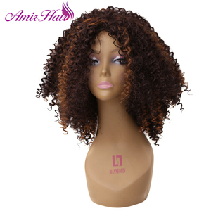 Image 3 - Amir Hair Natural Afro Wig Kinky Curly Wigs For Women Synthetic Female Wig Short Wigs Black brown blonde color avaliable