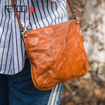 AETOO Head-layer cowhide small envelope bag, female leather hundred commuter retro literary fan single Shoulder Bag