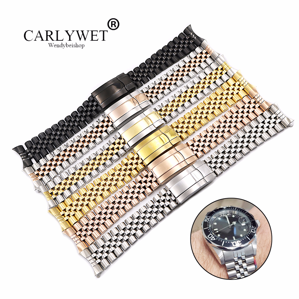 CARLYWET 19 20mm Hollow Curved End Screw Links 316L Stainless Steel Replacement Jubilee Watch Band Bracelet For Datejust carlywet 13 17 19 20mm wholesale 316l stainless steel two tone rose gold silver watch band strap oyster bracelet for dayjust