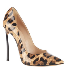 Europe and the United States fall 12 cm metal ultra-thin with fine pointed shoes Shallow mouth leopard Liangpi banquet walking s