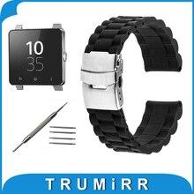 24mm Caoutchouc Bracelet En Silicone pour Sony Smartwatch 2 SW2 Bande De Remplacement 3 Pointeur Résine Bracelet En Acier Inoxydable Boucle Bracelet