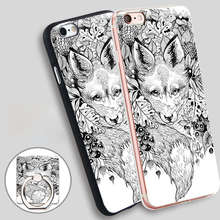 Hidden Fox Phone Ring Holder Soft TPU Silicone Case Cover for iPhone 5 SE 5S 6 6S 7 Plus