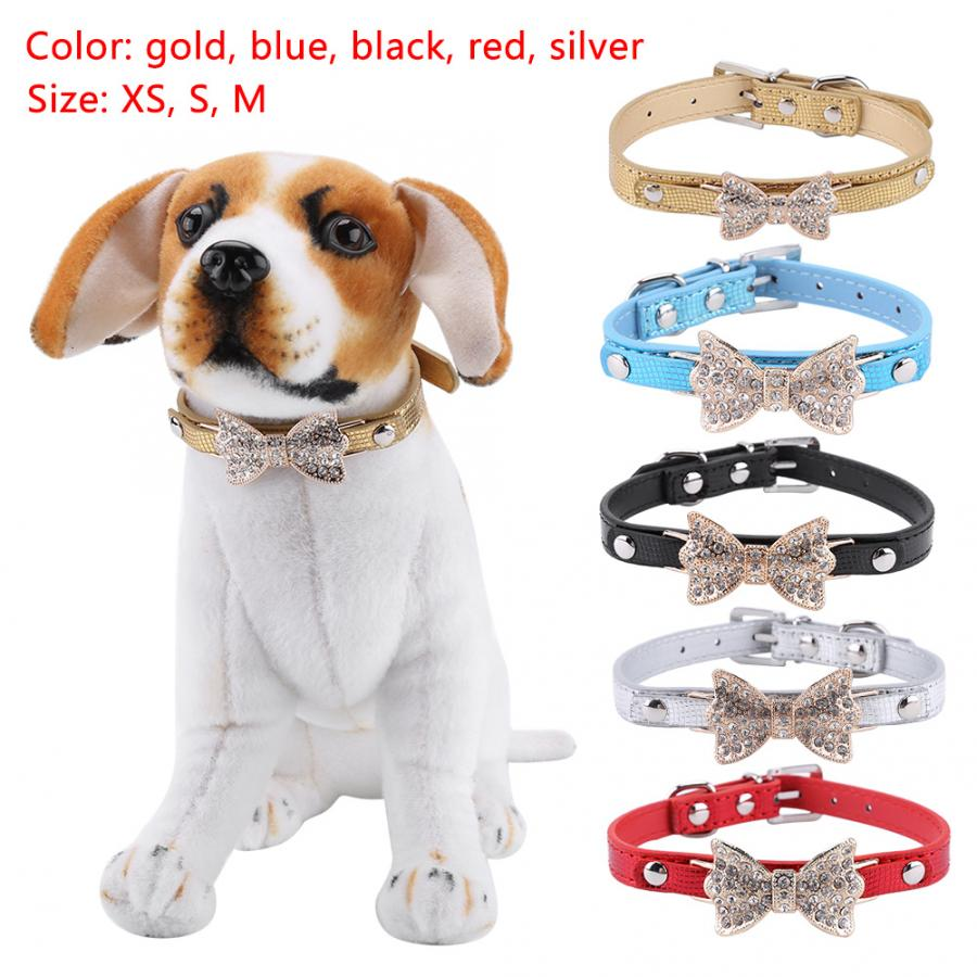 PU Leather Pet Dog Collar W// Crystal Bowknot Adjustable Puppy Dog Durable Black