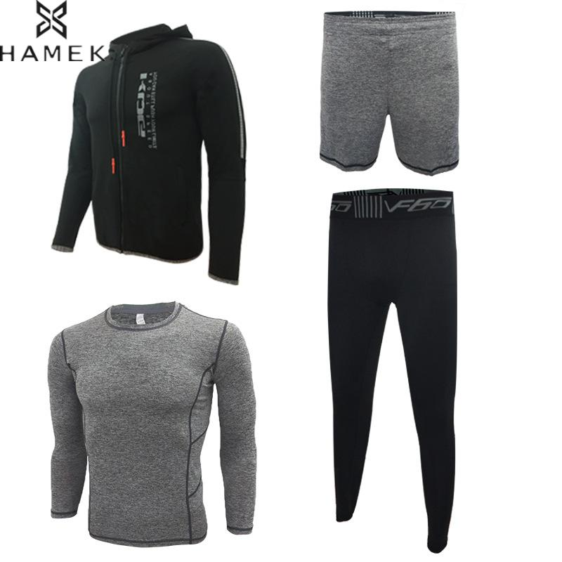 Mens 4 Pcs Sports Suits Jogging Running Homme Basketball Soccer Tracksuit Fitness Gym Workout Sportswear Breathable Quick Dry b bang new 2015 women sports bra push up breathable bra for running fitness workout gym underwear crop tops for women 6 colors
