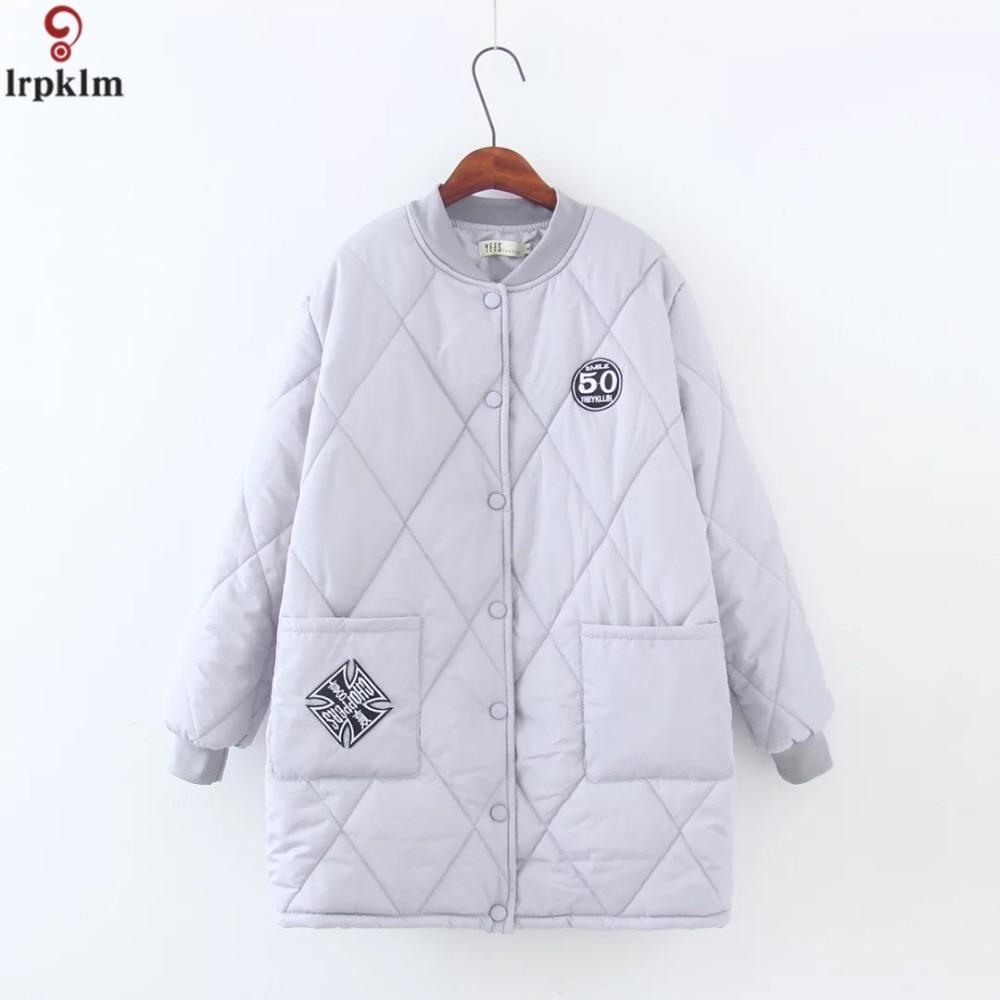 Femmes hiver rembourré veste Baseball o-col lâche grande taille vestes coton épais manteaux bouton Outwear manteaux femme 2018 LZ1000