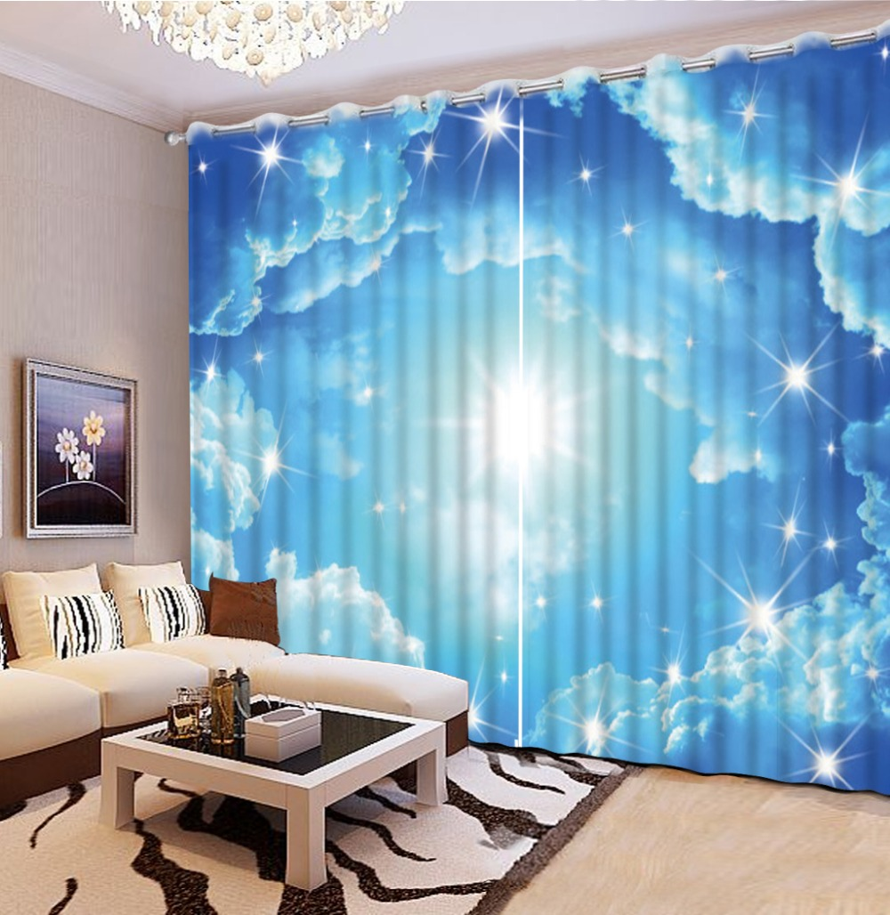 Top Classic 3D European Style Window Curtains For Living Room Blue Curtains  For Living Room Curtains