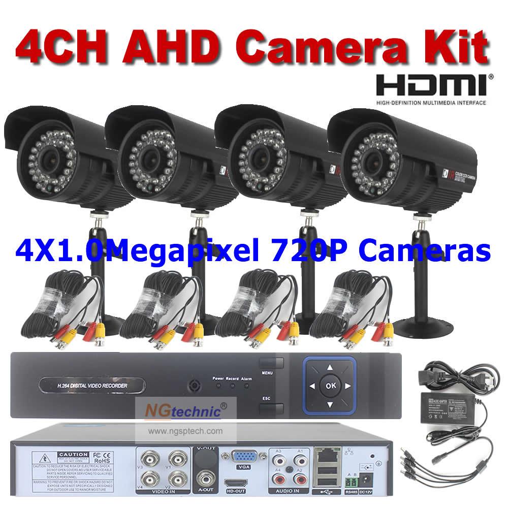 где купить  Security Camera System 4Pcs Outdoor With IRCUT Filter AHD CCTV Camera 720P Waterproof + 4CH AHD DVR Recorder HDMI + 4Pcs Cables  дешево