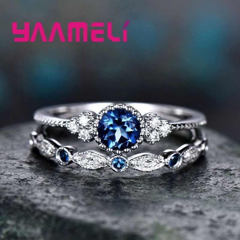 2PCS 925 Sterling Silver Knuckle Rings for Women Engagement Wedding Luxury CZ Stone Lovers Finger Ring Gifts Anniversary