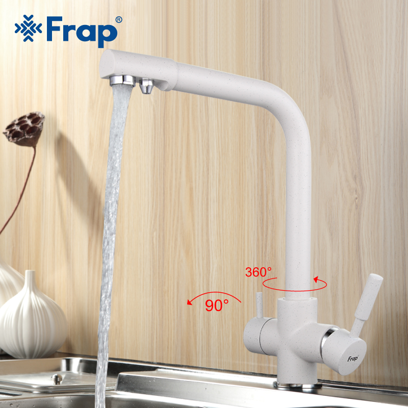 Frap White Spray Painting Kitchen Faucet Seven Letter Design 360 Degree Rotation With Water Purification Features F4352-8