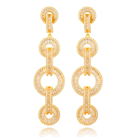 SisCathy 20*74mm Fashion Long Drop Dangle Earrings For Women Geometric Circle Buckle Big Earrings Nigerian Dubai Wedding Jewelry