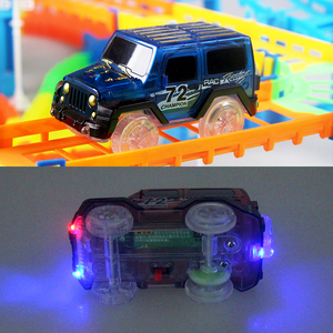 Image 3 - Connect 2 Type Railway Magical Racing Track Play Set DIY Bend Flexible Race Track Electronic Flash Light Car Toys For Children
